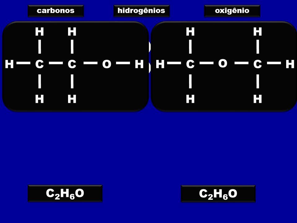 carbonos hidrogênios oxigênio C H O C H O C2H6O C2H6O