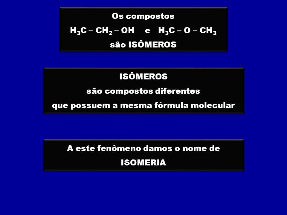 são compostos diferentes que possuem a mesma fórmula molecular