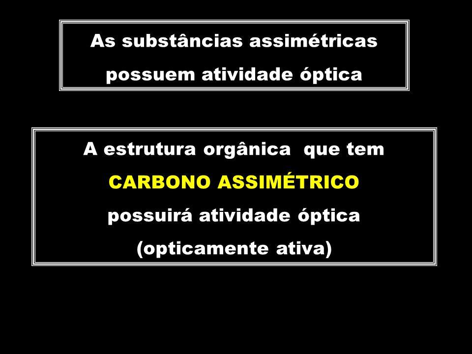 As substâncias assimétricas possuem atividade óptica