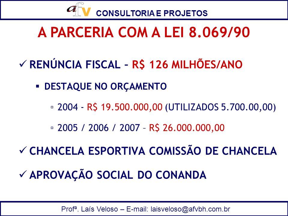 A PARCERIA COM A LEI 8.069/90 RENÚNCIA FISCAL – R$ 126 MILHÕES/ANO