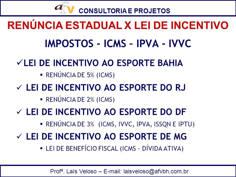 RENÚNCIA ESTADUAL X LEI DE INCENTIVO IMPOSTOS - ICMS – IPVA - IVVC