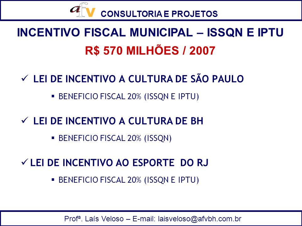 INCENTIVO FISCAL MUNICIPAL – ISSQN E IPTU