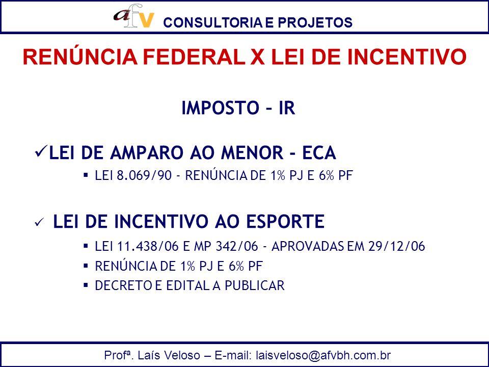 RENÚNCIA FEDERAL X LEI DE INCENTIVO