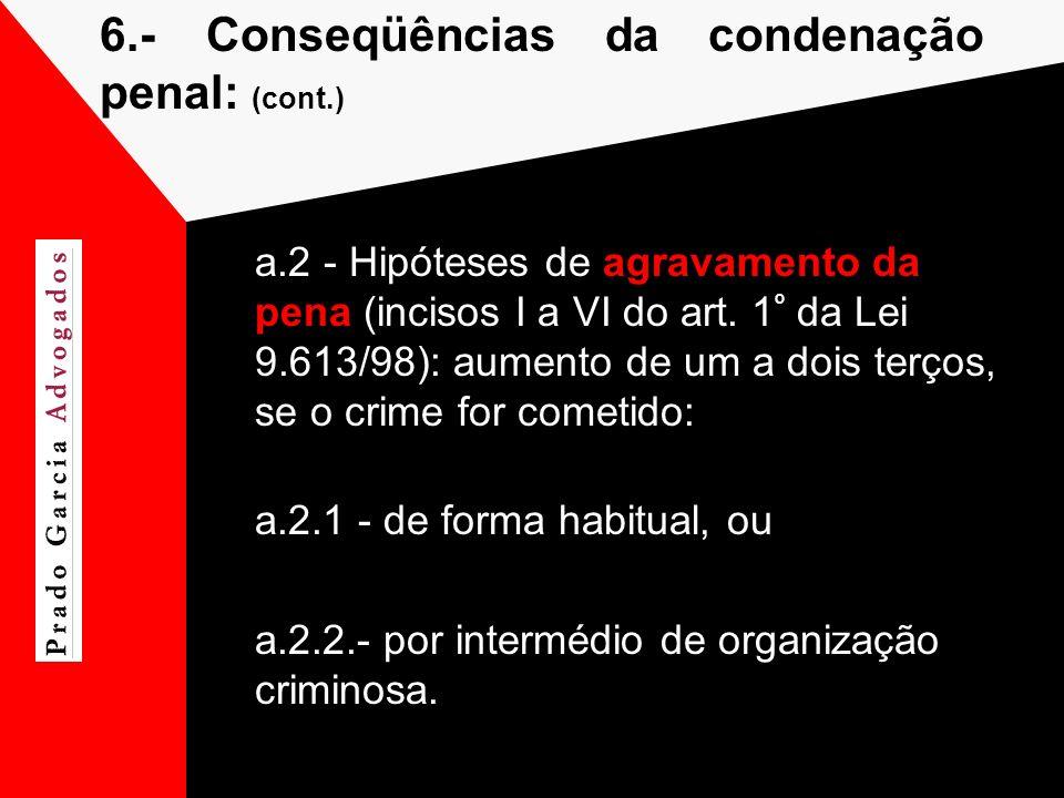 6.- Conseqüências da condenação penal: (cont.)