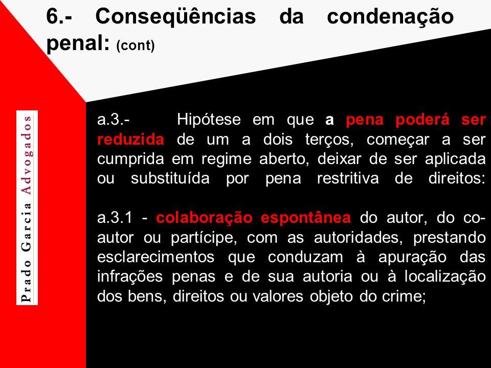 6.- Conseqüências da condenação penal: (cont)