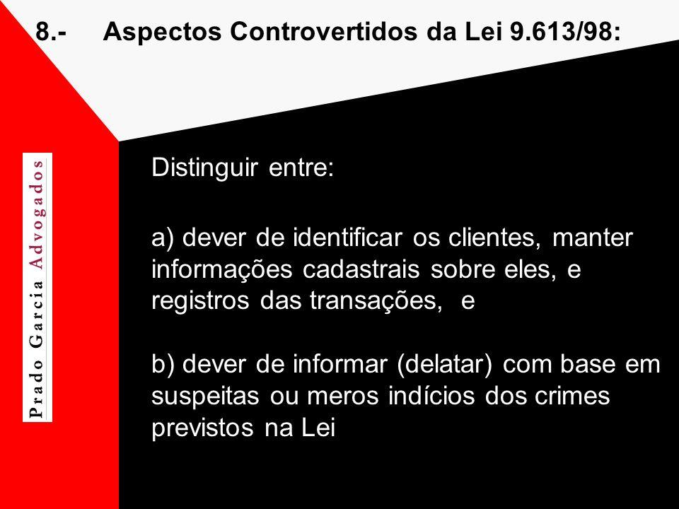 8.- Aspectos Controvertidos da Lei 9.613/98: