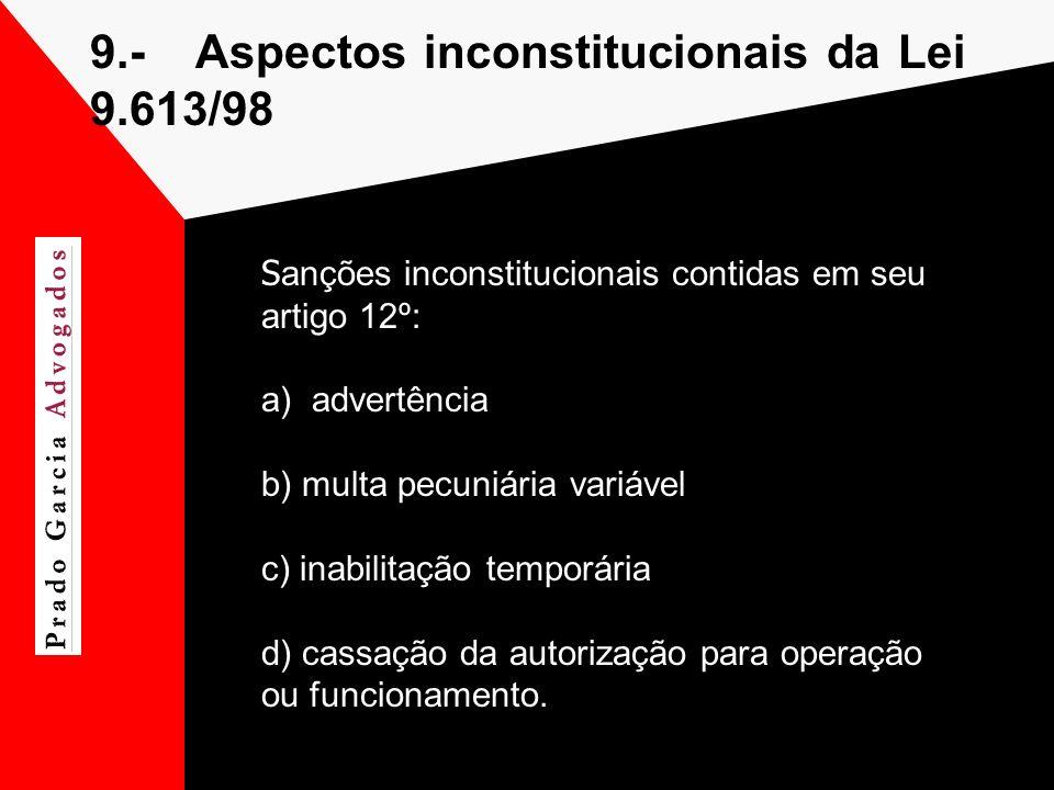 9.- Aspectos inconstitucionais da Lei 9.613/98