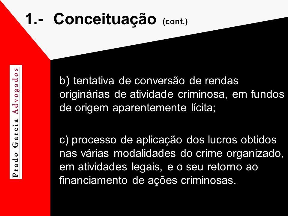 1.- Conceituação (cont.) b) tentativa de conversão de rendas originárias de atividade criminosa, em fundos de origem aparentemente lícita;