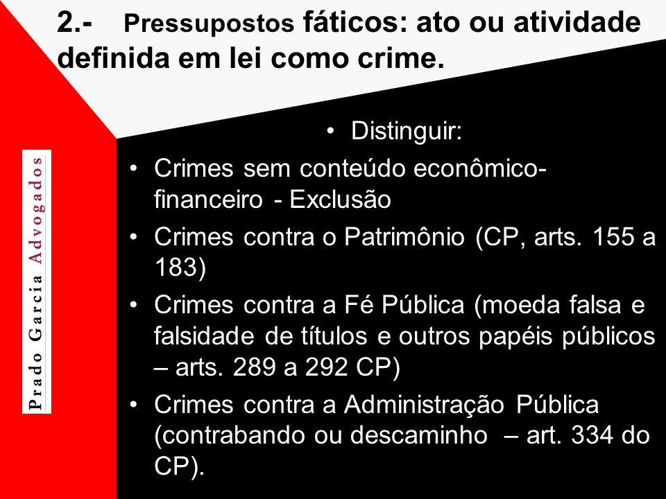 2.- Pressupostos fáticos: ato ou atividade definida em lei como crime.