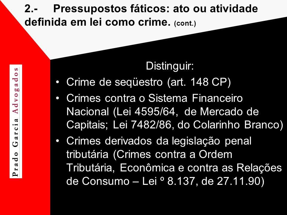 2.- Pressupostos fáticos: ato ou atividade definida em lei como crime. (cont.)