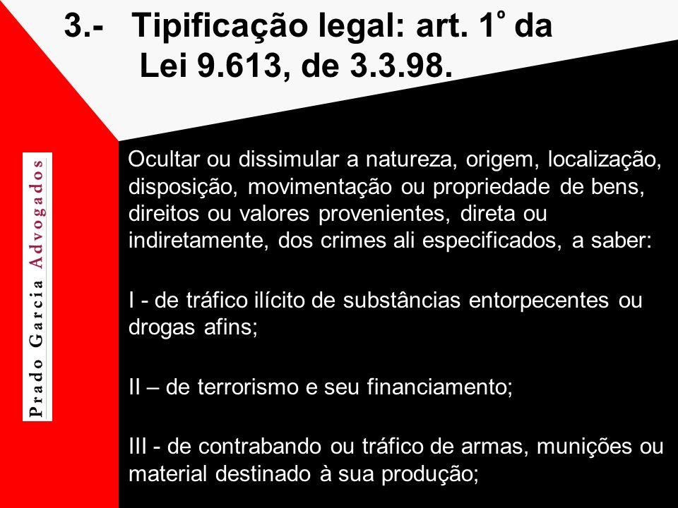 3.- Tipificação legal: art. 1º da Lei 9.613, de 3.3.98.