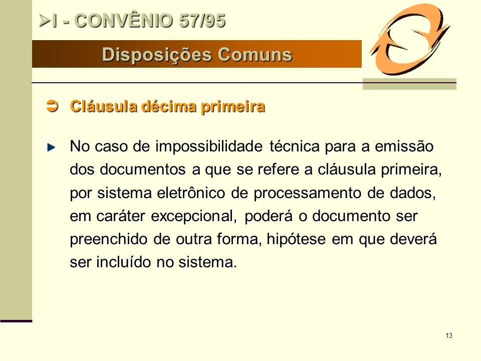 I - CONVÊNIO 57/95 Disposições Comuns Cláusula décima primeira