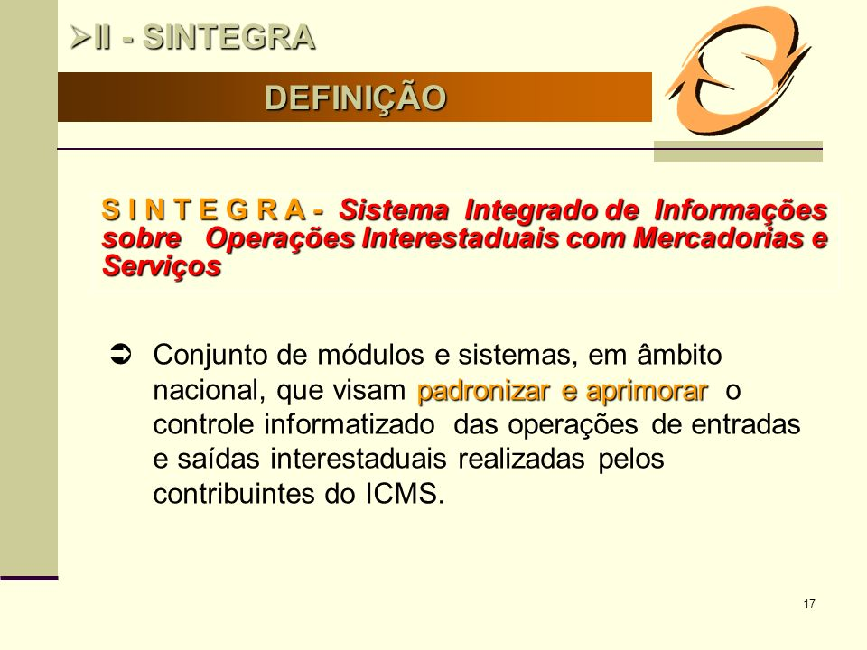 II - SINTEGRA DEFINIÇÃO