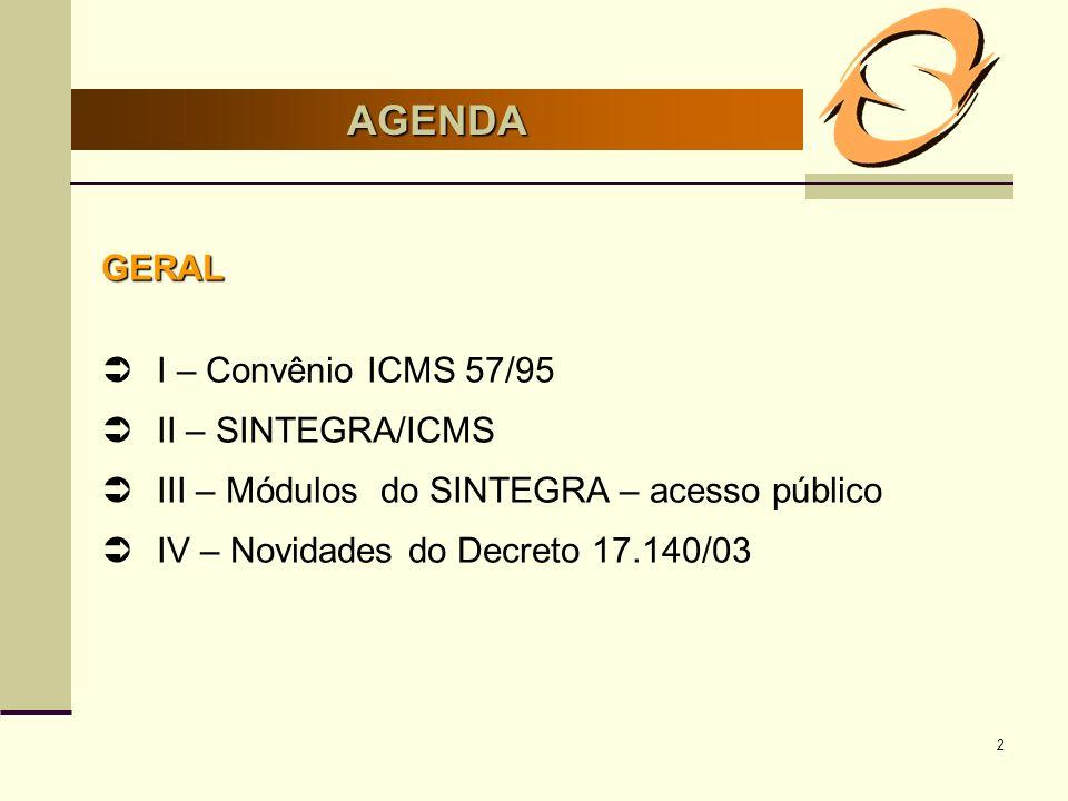 AGENDA GERAL I – Convênio ICMS 57/95 II – SINTEGRA/ICMS