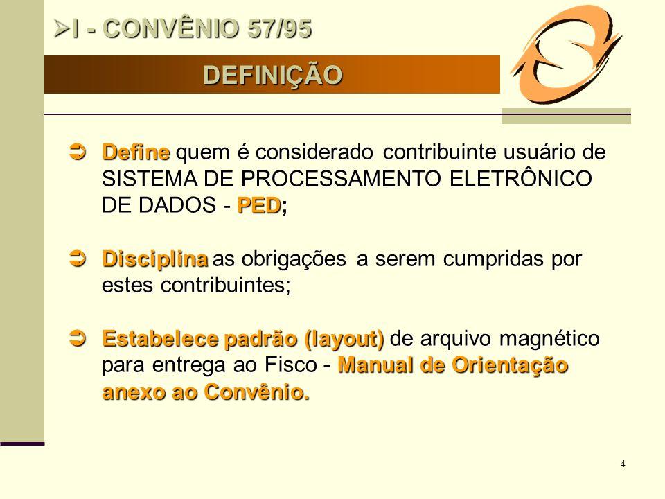 I - CONVÊNIO 57/95 DEFINIÇÃO