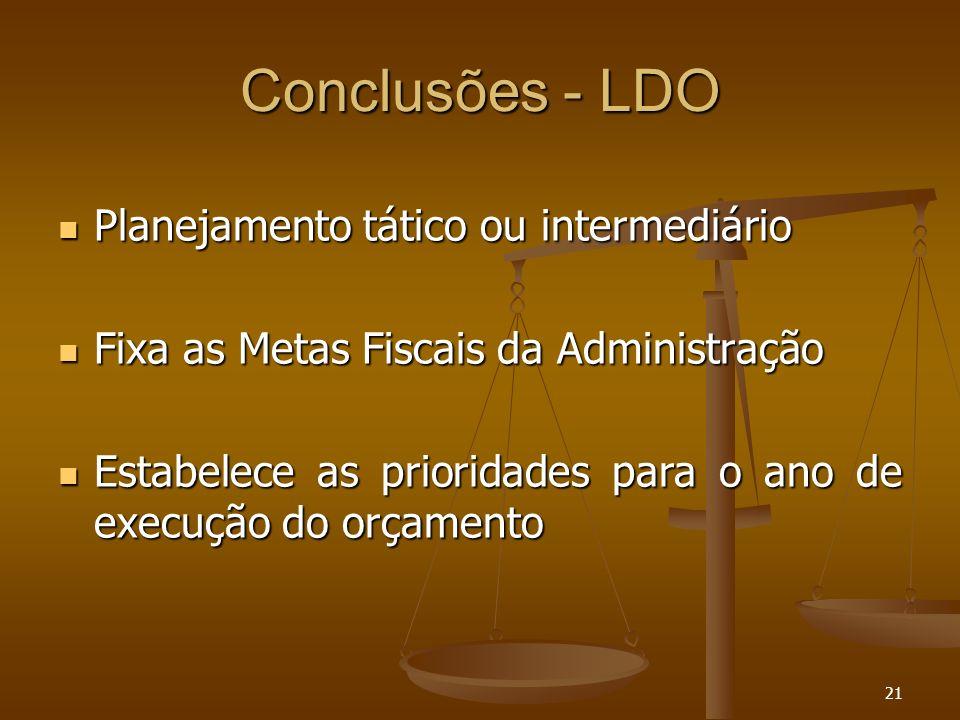 Conclusões - LDO Planejamento tático ou intermediário