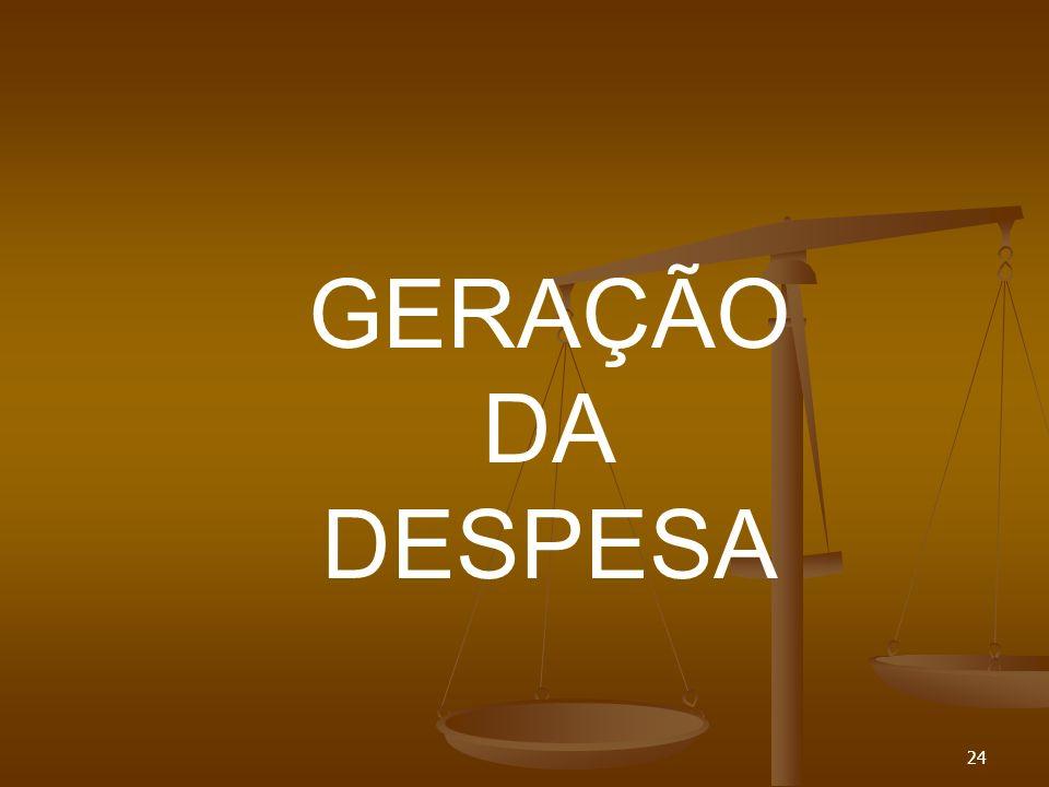 GERAÇÃO DA DESPESA