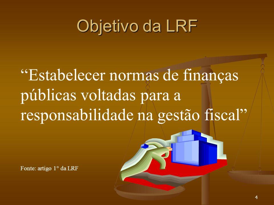 Objetivo da LRF Estabelecer normas de finanças públicas voltadas para a responsabilidade na gestão fiscal