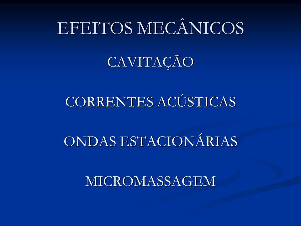 EFEITOS MECÂNICOS CAVITAÇÃO CORRENTES ACÚSTICAS ONDAS ESTACIONÁRIAS