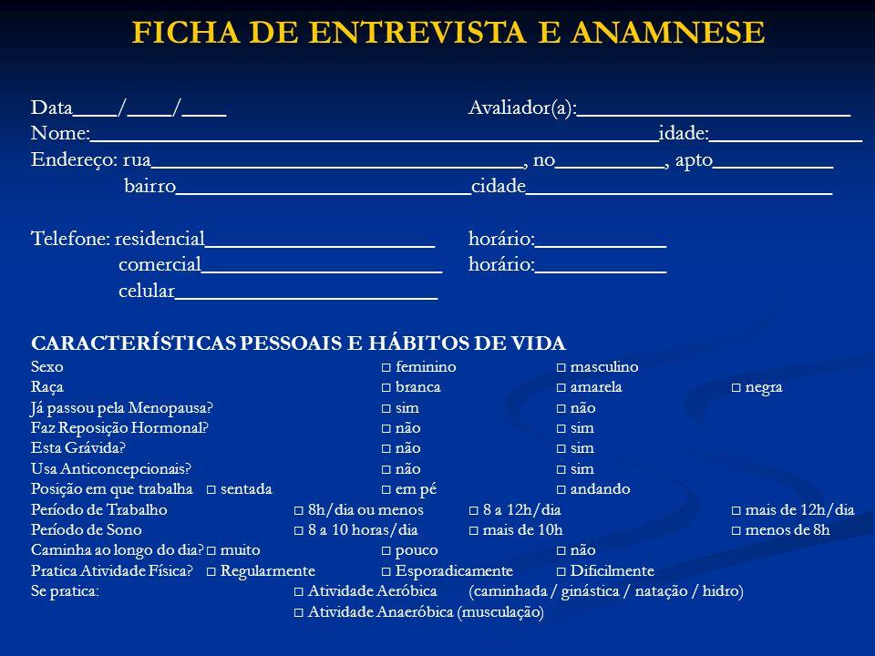FICHA DE ENTREVISTA E ANAMNESE