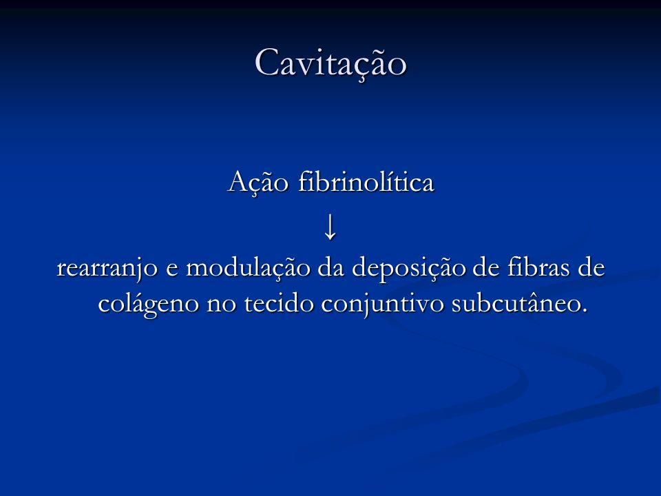 Cavitação Ação fibrinolítica ↓