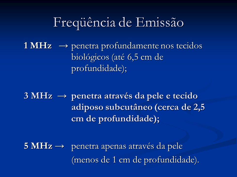 Freqüência de Emissão 1 MHz → penetra profundamente nos tecidos biológicos (até 6,5 cm de profundidade);