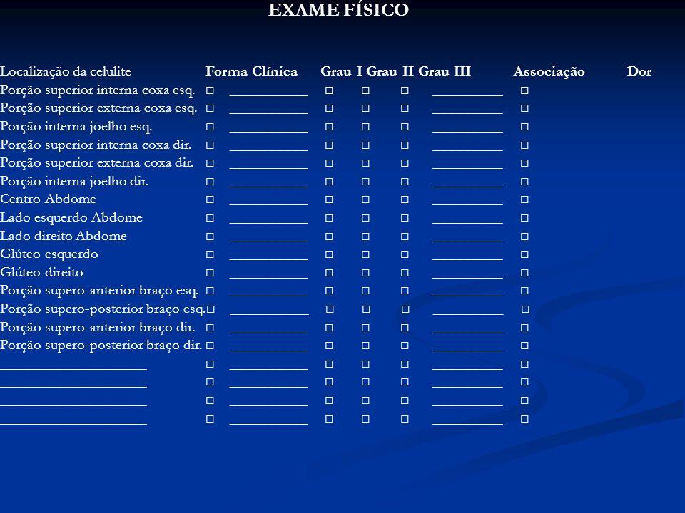 EXAME FÍSICO Localização da celulite Forma Clínica Grau I Grau II Grau III Associação Dor.