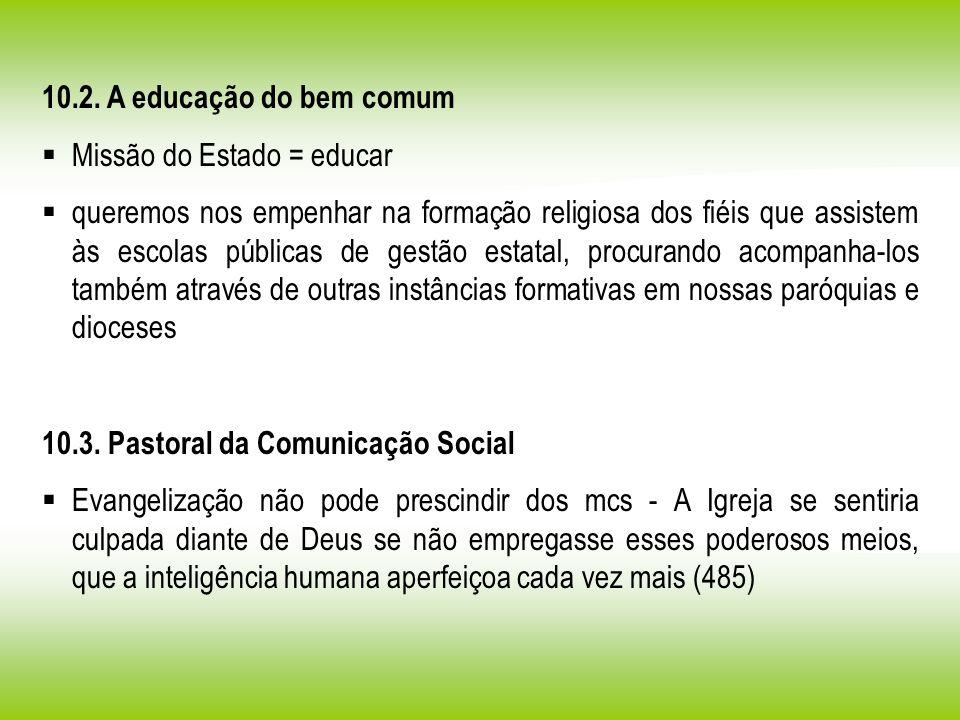10.2. A educação do bem comum Missão do Estado = educar.