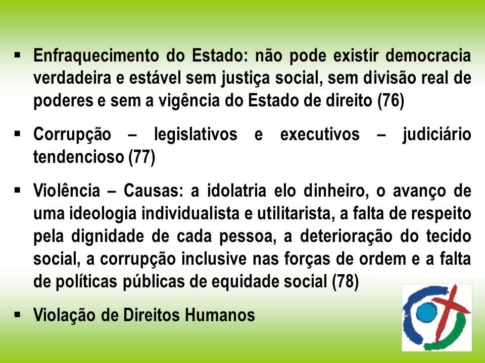 Enfraquecimento do Estado: não pode existir democracia verdadeira e estável sem justiça social, sem divisão real de poderes e sem a vigência do Estado de direito (76)