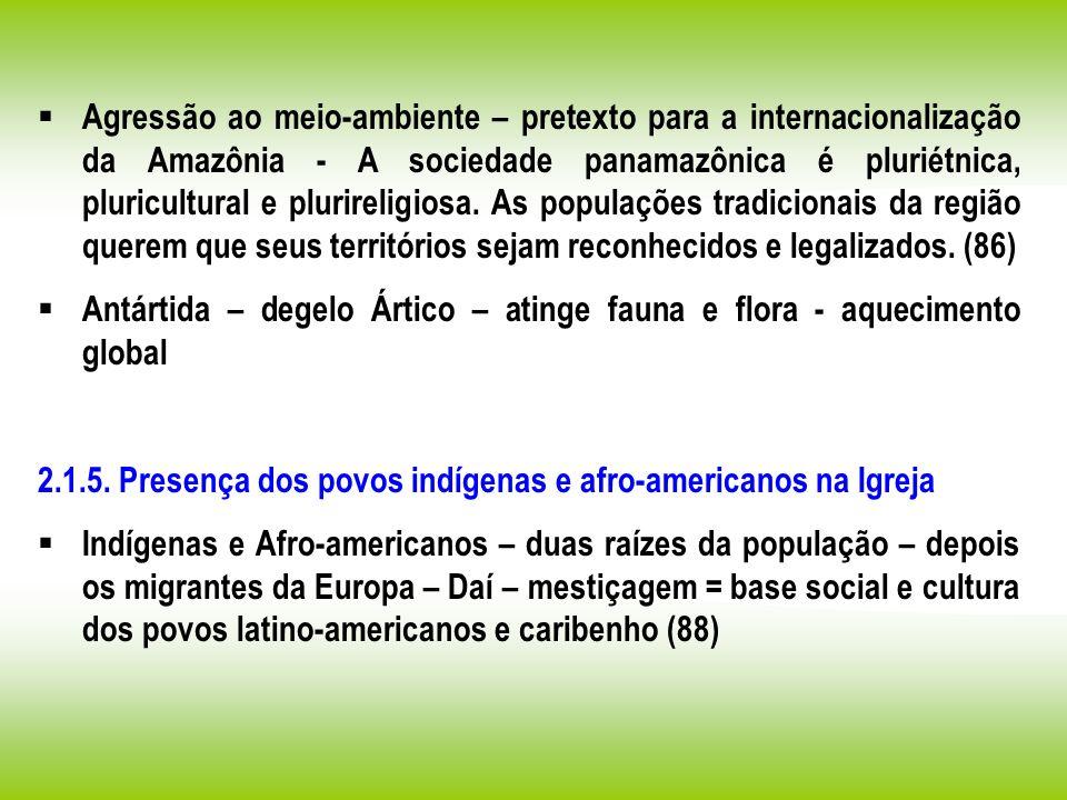 Agressão ao meio-ambiente – pretexto para a internacionalização da Amazônia - A sociedade panamazônica é pluriétnica, pluricultural e plurireligiosa. As populações tradicionais da região querem que seus territórios sejam reconhecidos e legalizados. (86)