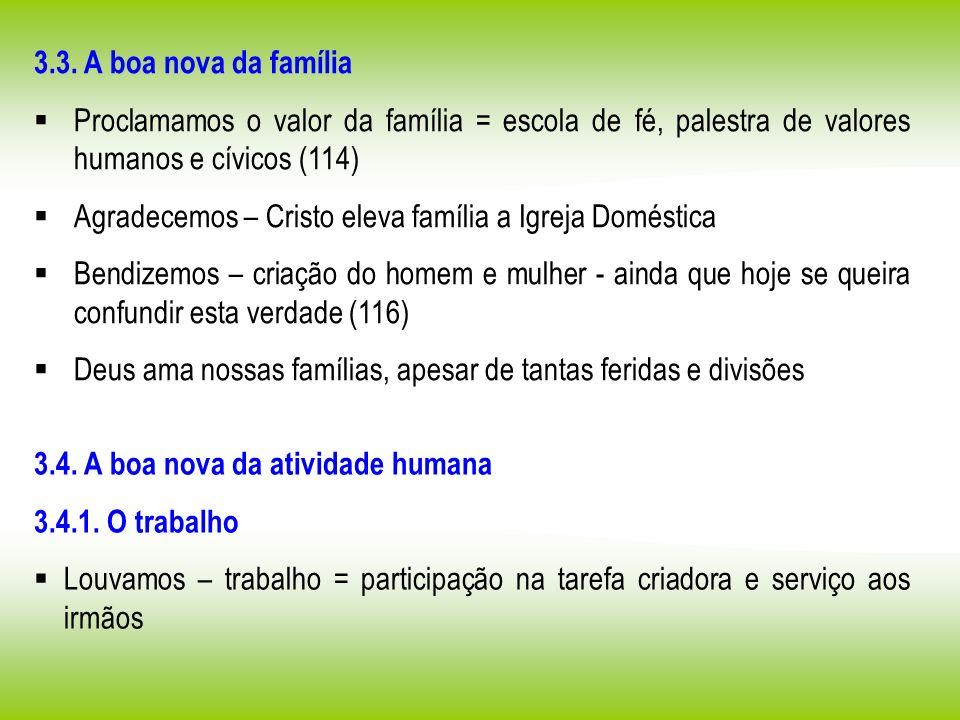 3.3. A boa nova da família Proclamamos o valor da família = escola de fé, palestra de valores humanos e cívicos (114)