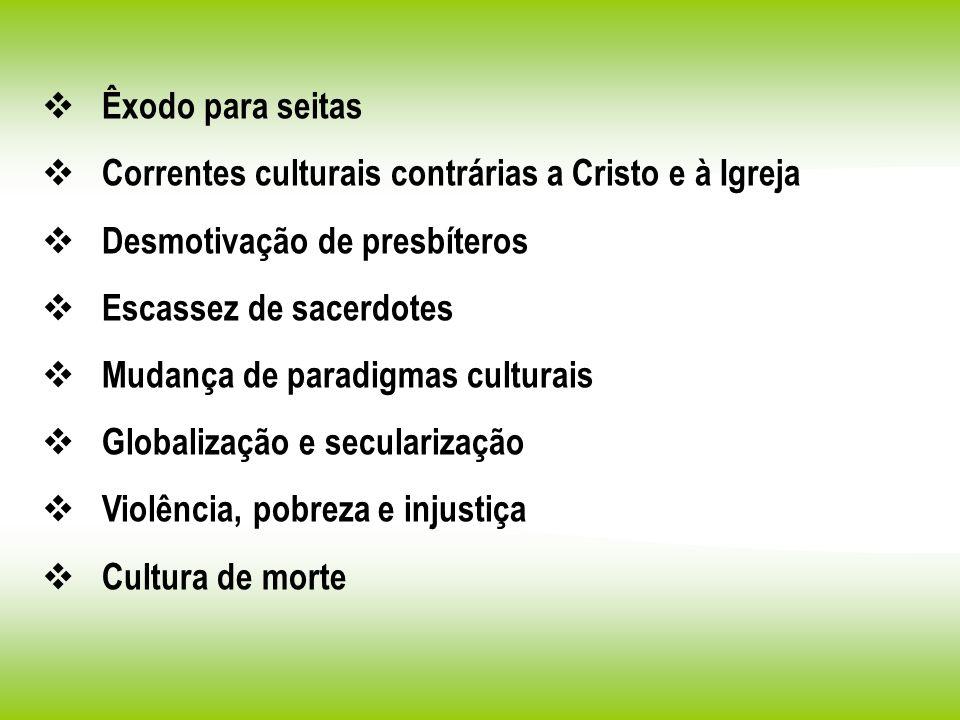 Êxodo para seitas Correntes culturais contrárias a Cristo e à Igreja. Desmotivação de presbíteros.