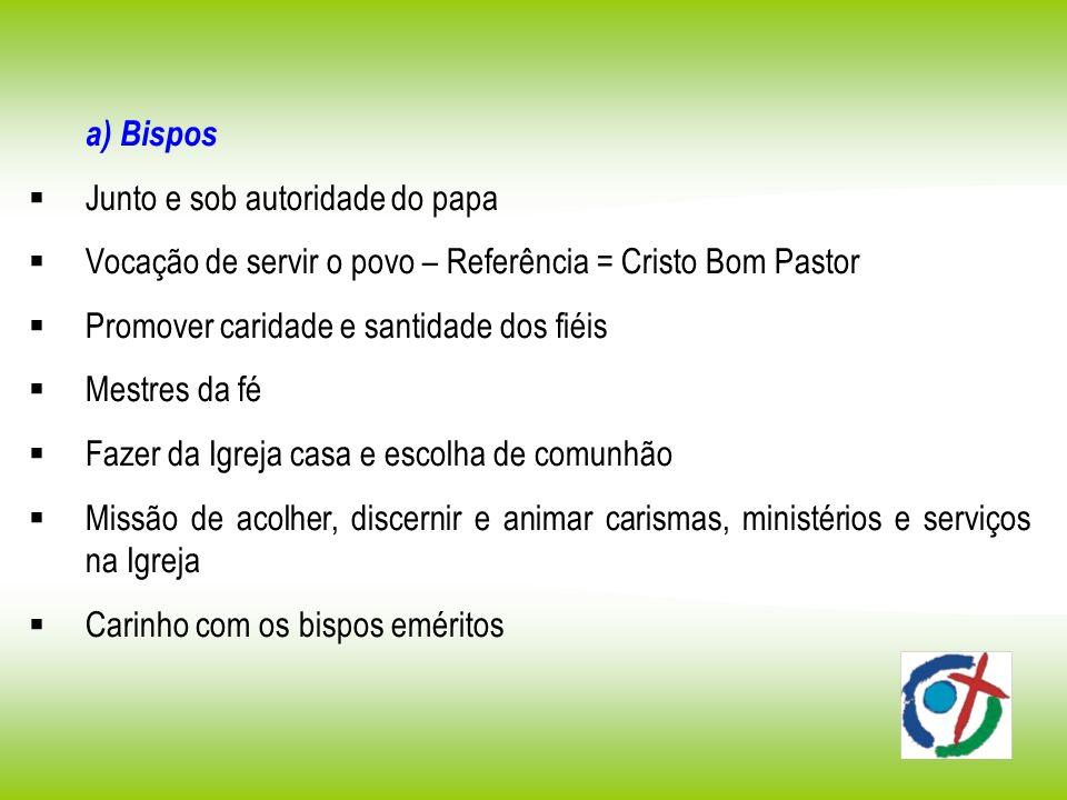 a) Bispos Junto e sob autoridade do papa. Vocação de servir o povo – Referência = Cristo Bom Pastor.