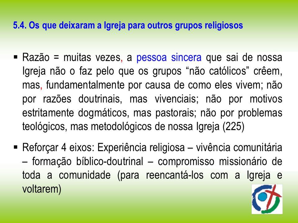 5.4. Os que deixaram a Igreja para outros grupos religiosos