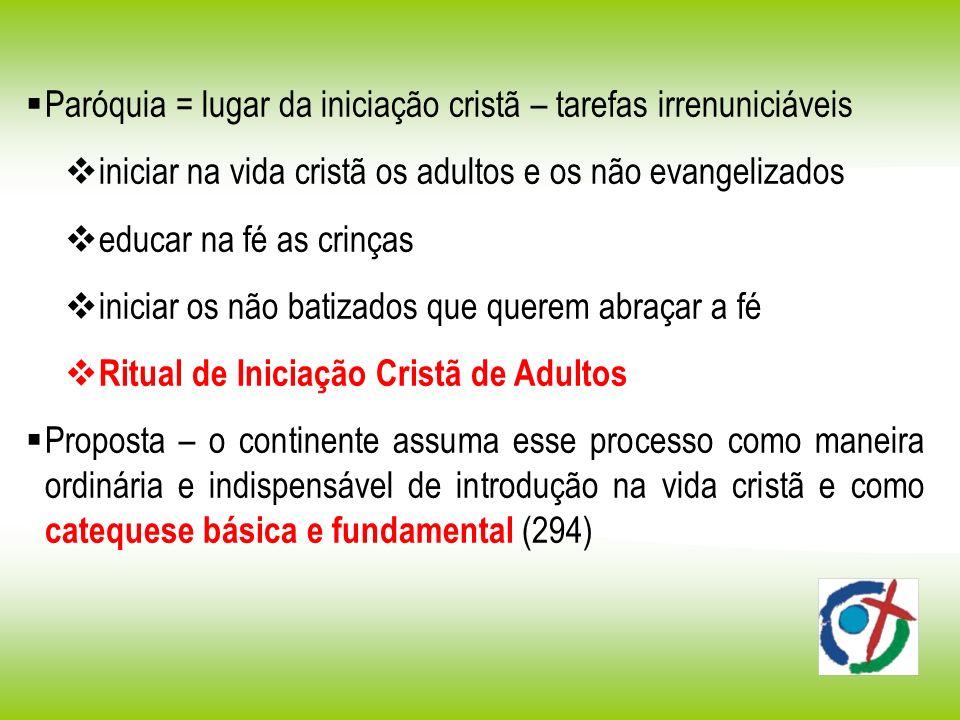 Paróquia = lugar da iniciação cristã – tarefas irrenuniciáveis