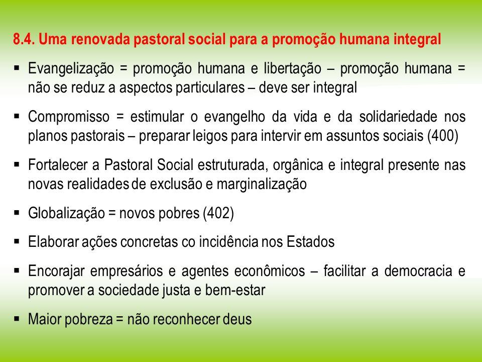 8.4. Uma renovada pastoral social para a promoção humana integral