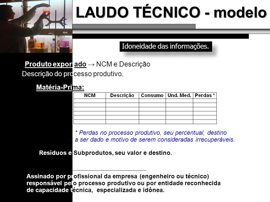 LAUDO TÉCNICO - modelo Idoneidade das informações.