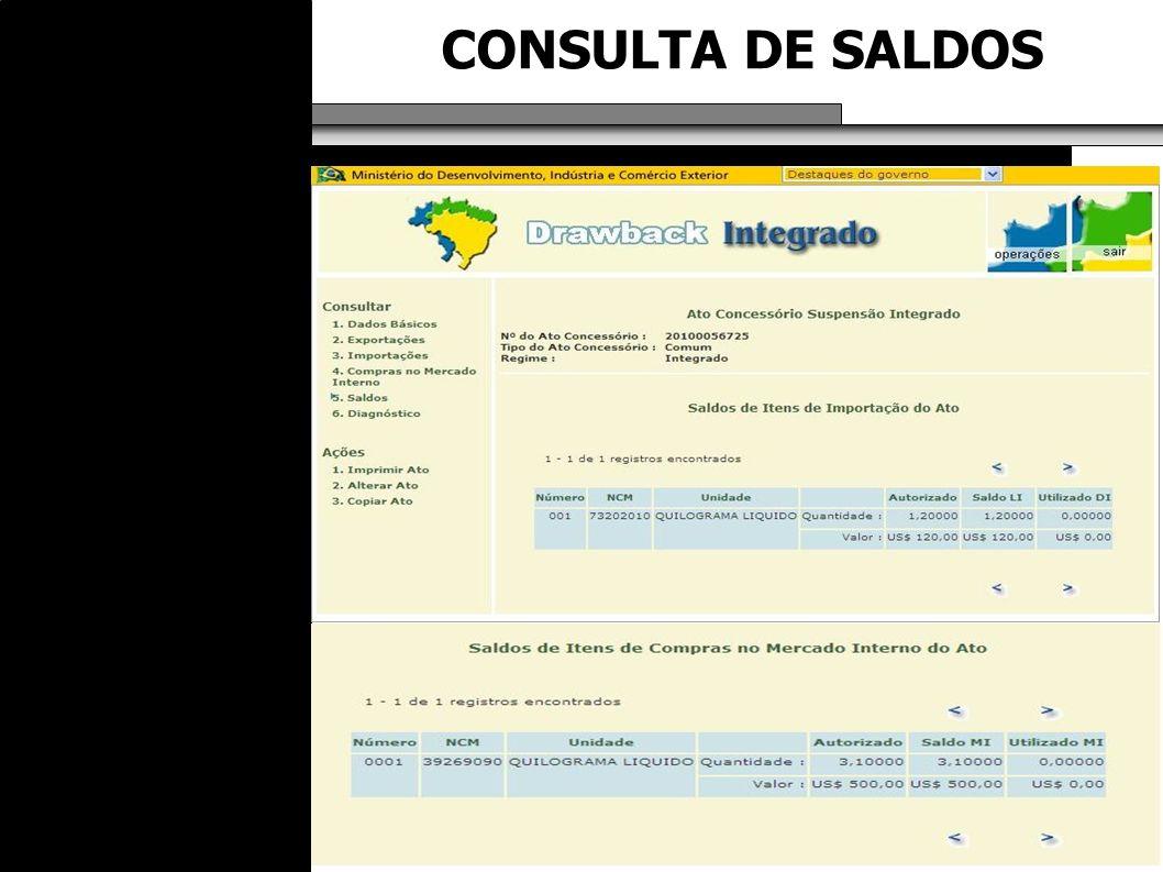 CONSULTA DE SALDOS