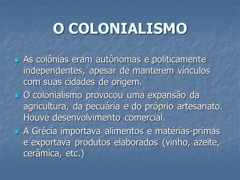 O COLONIALISMOAs colônias eram autônomas e politicamente independentes, apesar de manterem vínculos com suas cidades de origem.