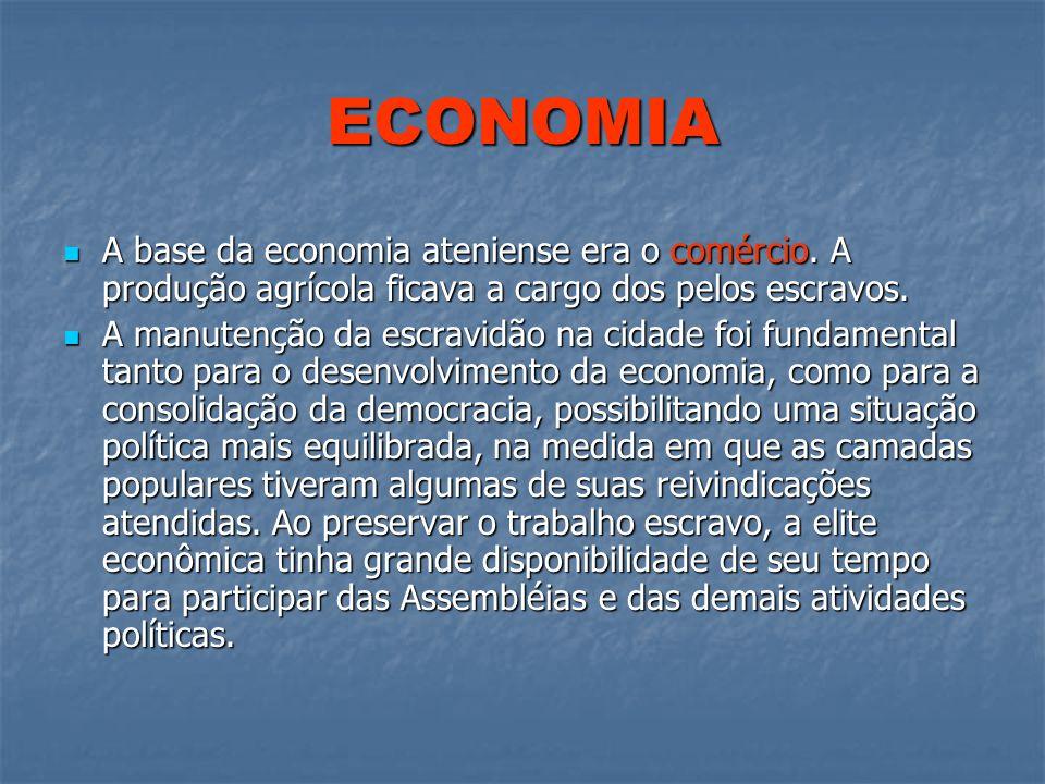 ECONOMIAA base da economia ateniense era o comércio. A produção agrícola ficava a cargo dos pelos escravos.