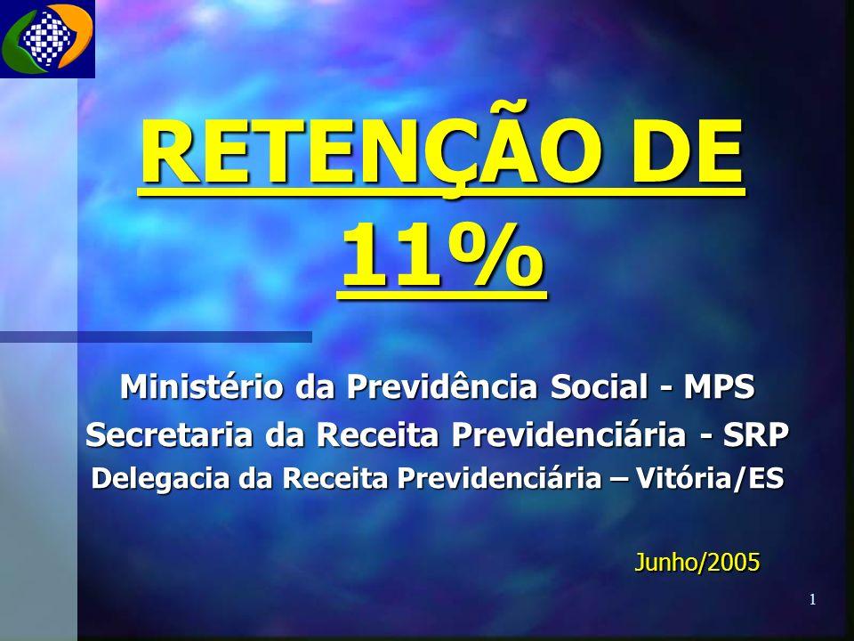 RETENÇÃO DE 11% Ministério da Previdência Social - MPS