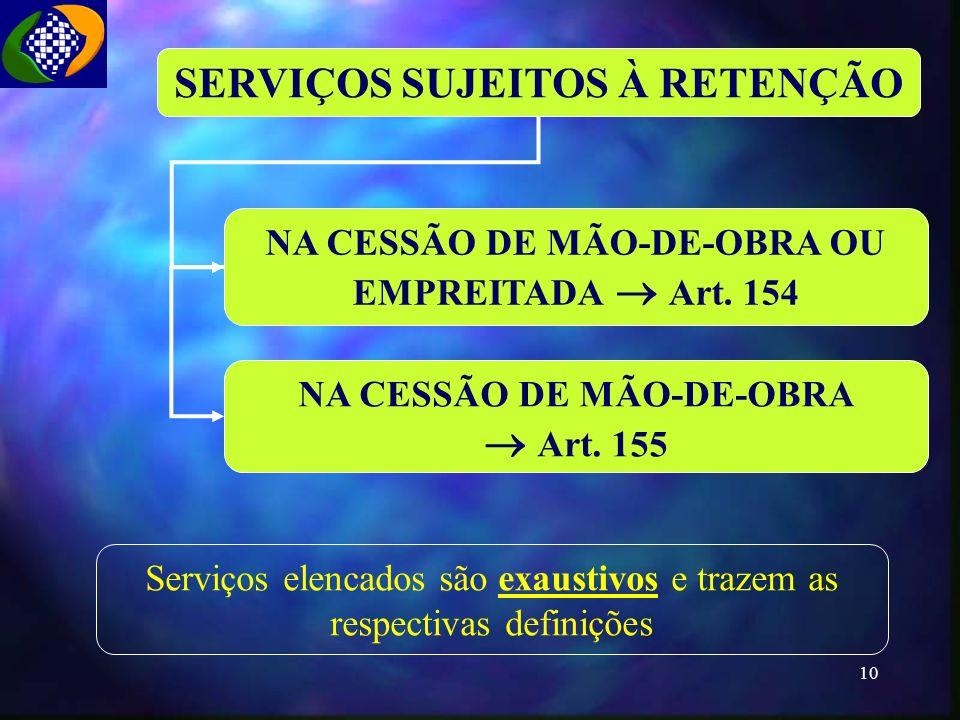  Art. 155 SERVIÇOS SUJEITOS À RETENÇÃO