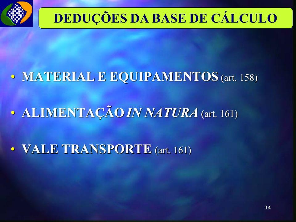 DEDUÇÕES DA BASE DE CÁLCULO