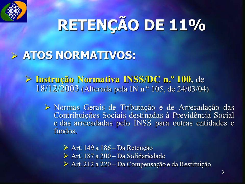 RETENÇÃO DE 11% ATOS NORMATIVOS: