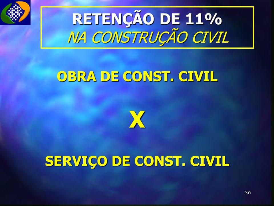 RETENÇÃO DE 11% NA CONSTRUÇÃO CIVIL