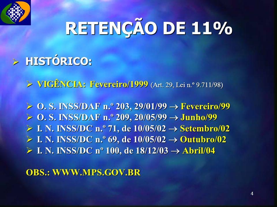 RETENÇÃO DE 11% HISTÓRICO: