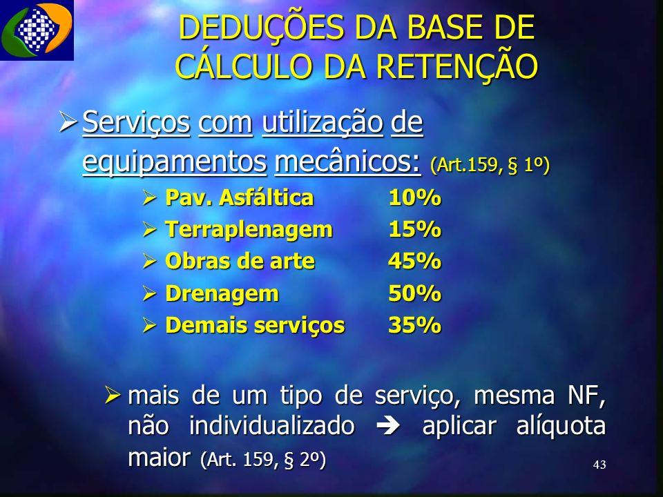 DEDUÇÕES DA BASE DE CÁLCULO DA RETENÇÃO