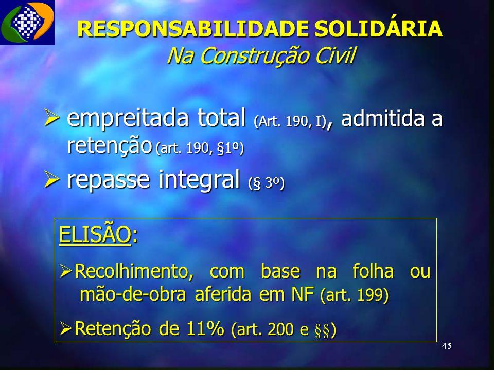 RESPONSABILIDADE SOLIDÁRIA Na Construção Civil