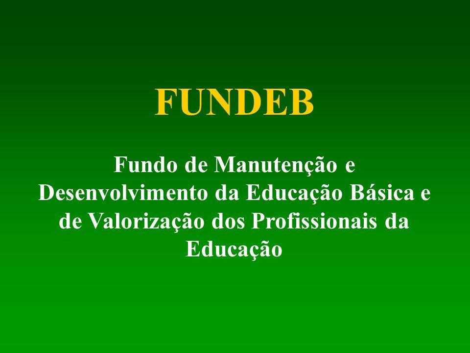 FUNDEB Fundo de Manutenção e Desenvolvimento da Educação Básica e de Valorização dos Profissionais da Educação.