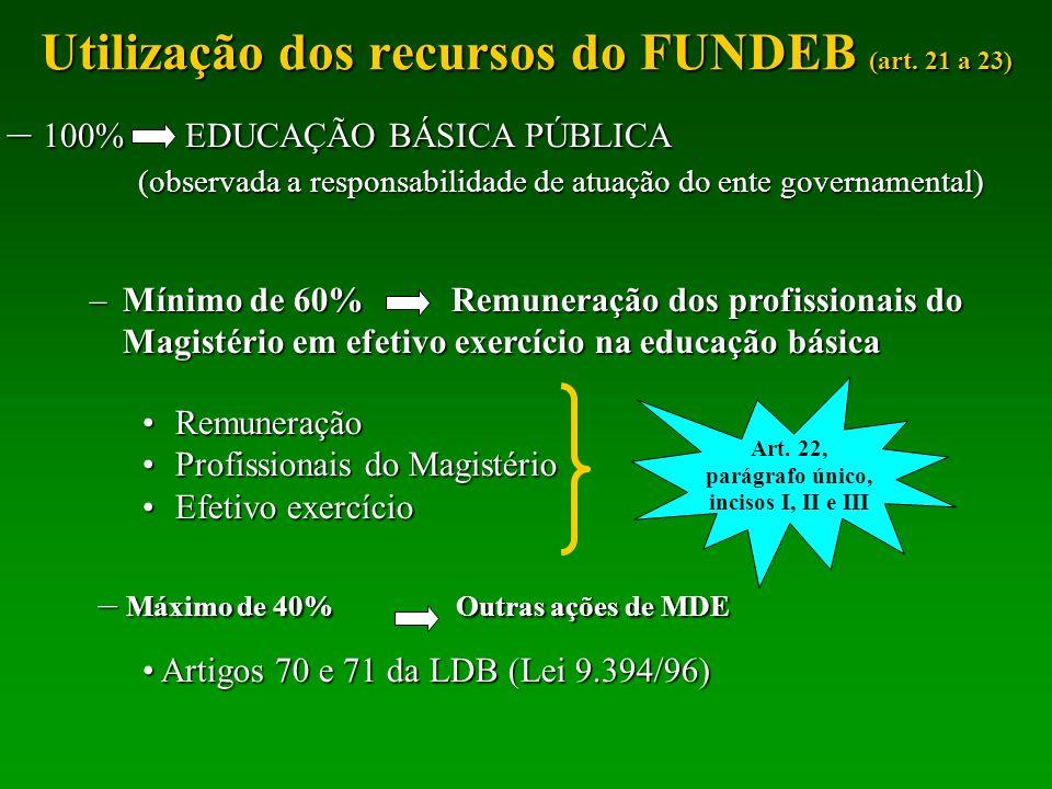 Utilização dos recursos do FUNDEB (art. 21 a 23)